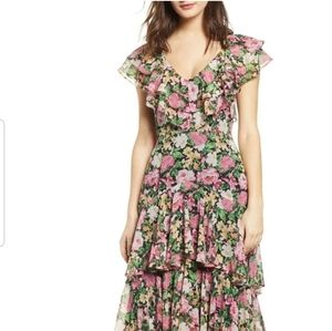 Wayf Ruffled Flower Print Dress